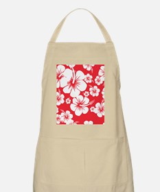 Red and White Hibiscus Hawaii Print Apron