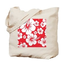 Red and White Hibiscus Hawaii Print Tote Bag