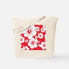 Red and White Hibiscus Hawaii Print Tote Bag