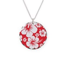 Red and White Hibiscus Hawai Necklace