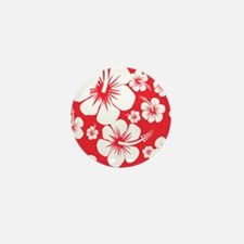 Red and White Hibiscus Hawaii Print Mini Button