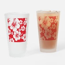 Red and White Hibiscus Hawaii Print Drinking Glass