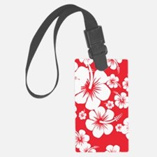 Red and White Hibiscus Hawaii Pr Luggage Tag