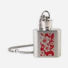 Red and White Hibiscus Hawaii Print Flask Necklace