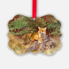Painting of Momma Fox and Kits Ornament