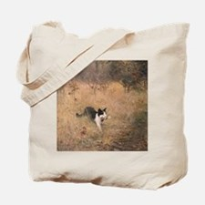Old Painting of Kitty with a Bird Tote Bag