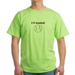 I HEART LOVE BASEBALL Green T-Shirt