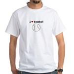 I HEART LOVE BASEBALL White T-Shirt