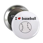 I HEART LOVE BASEBALL Button