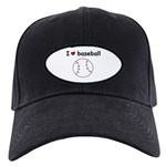 I HEART LOVE BASEBALL Black Cap