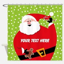 Personalized Round Santa Shower Curtain