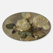 Vintage Painting of White Roses Sticker (Oval)