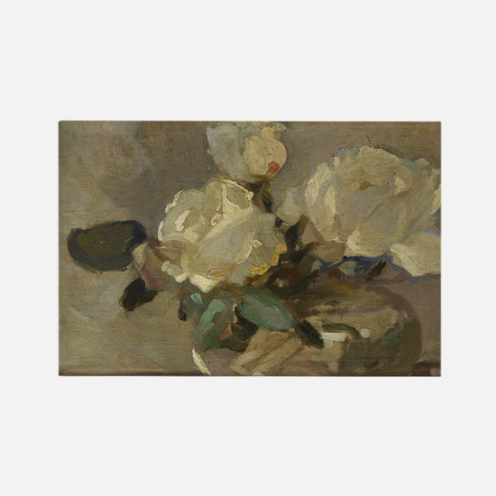 Vintage Painting of White Roses Rectangle Magnet