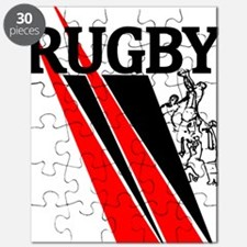 Rugby Line Out Red Black Puzzle