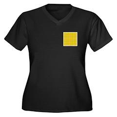 Yellow Latticework Women's Plus Size V-Neck Dark T