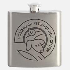 Homeward Pet Round Black/White Logo Flask