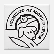 Homeward Pet Round Black/White Logo Tile Coaster