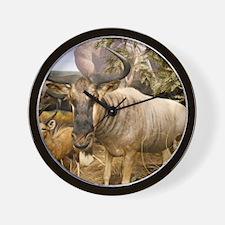 Wildebeest In The Wild Wall Clock