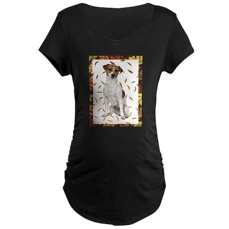 Autumn Jack Russell Terrier Maternity T-Shirt