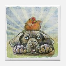 The Chicken and the Dog Tile Coaster