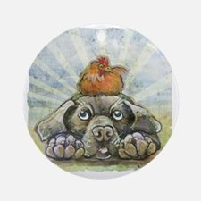 The Chicken and the Dog Round Ornament
