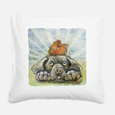 The Chicken and the Dog Square Canvas Pillow