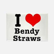I Heart (Love) Bendy Straws Rectangle Magnet