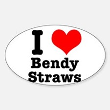 I Heart (Love) Bendy Straws Oval Decal
