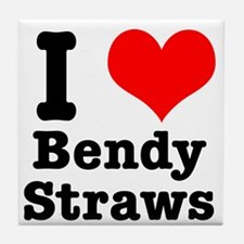 I Heart (Love) Bendy Straws Tile Coaster