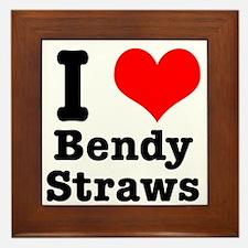 I Heart (Love) Bendy Straws Framed Tile
