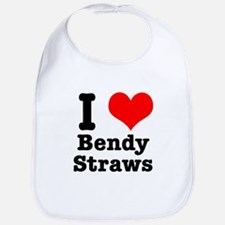 I Heart (Love) Bendy Straws Bib
