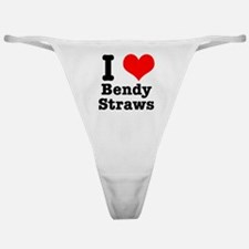 I Heart (Love) Bendy Straws Classic Thong