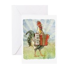 Accordian chick with back Greeting Card