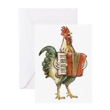 Accordian Playing Chicken Greeting Card