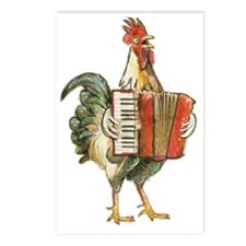 Accordian Playing Chicken Postcards (Package of 8)