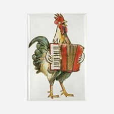 Accordian Playing Chicken Rectangle Magnet