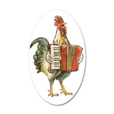 Accordian Playing Chicken Wall Decal