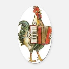 Accordian Playing Chicken Oval Car Magnet