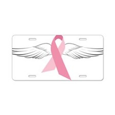 Pink Angel Wings Aluminum License Plate