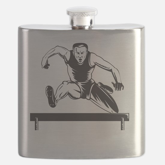 Track and Field Athlete Jumping Hurdles Flask