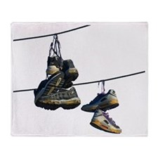Shoes on Telephone Wires Throw Blanket