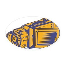 Video Camera Recorder Woodcut Oval Car Magnet