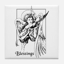 Angel with Dove Blessings Tile Coaster