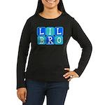 Lil Bro (Blue/Green) Women's Long Sleeve Dark T-Sh