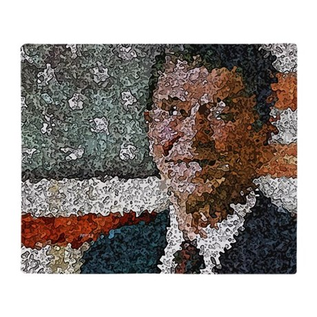Ronald Reagan With Flag Throw Blanket