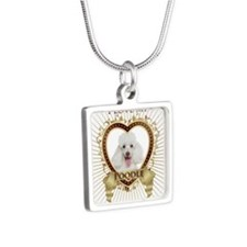 Poodle Love Silver Square Necklace