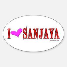 "I ""HEART"" SANJAYA Oval Decal"