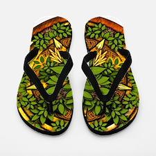 Ash Celtic Greenman Pentacle Flip Flops