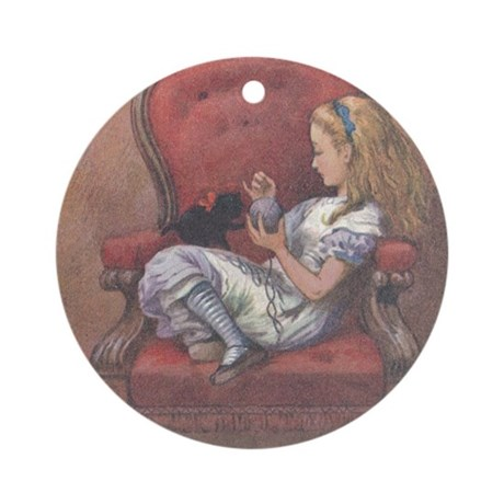 Alice in Chair Ornament (Round)