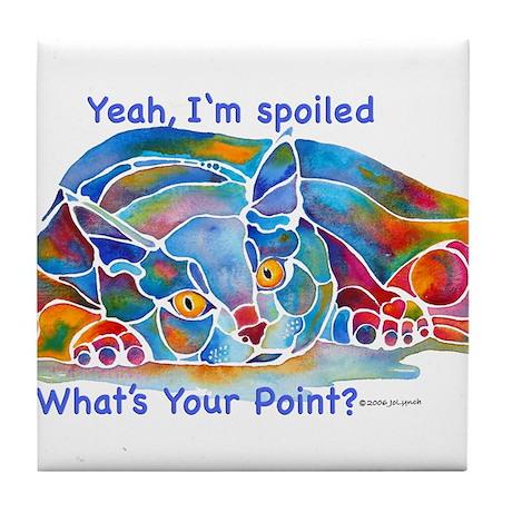 Spolied Calypso Cat Tile Coaster